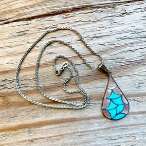 Turquoise Mother of Pearl Silver Teardrop Necklace